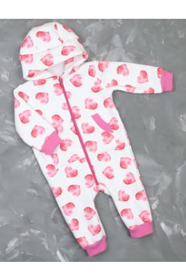 Купить Теплый комбинезон для малыша из трехнити с забавными ушками Сердечки TM Timki
