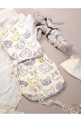 Мягкая европеленка для новорождленного с шапочкой Zoo велсофт молочный,ТМ Кай и Герда