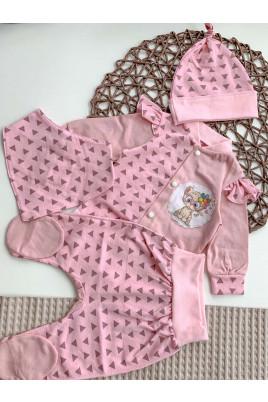 Комплект Кошечка из 4х предметов (боди, ползунки, шапка, слюнявчик) розовый, ТМ Happy tot