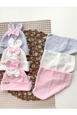 Стильный набор для малышей шапочка с ушками плюс манишка Бантик, ТМ Жоржик