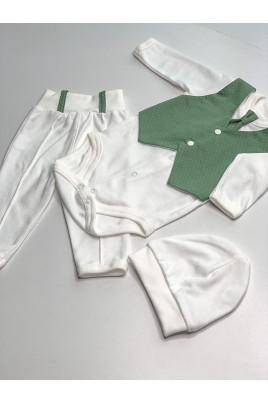 Нарядный комплект с боди для мальчика Немо зеленый