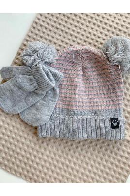 Набор для малышей шапочка плюс рукавички для девочки,TM Timki
