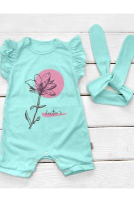 Летний комплек   для девочки Цветочек, Timki (песочник, повязочка)