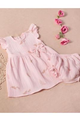 Комплект для девочки платье и трусики под памперс Листики на розовом Кай и Герда,муслин