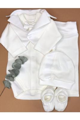 купить Нарядный  комплект для мальчика Санни (боди, штаны,шапочка,пинетки) интерлок