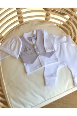 Купить Нарядный комплект для мальчика Нежность Little angel (рубашка, жилетка, штаны, шапочка) интерлок