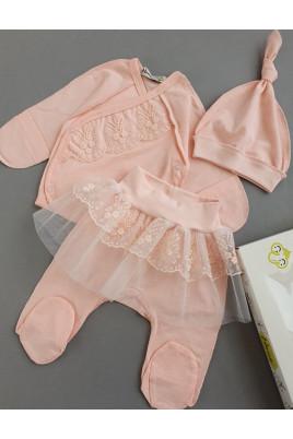 Нарядный комплект для новорожденных Нектар, Няня (распашонка, шапочка, ползунки) кулир