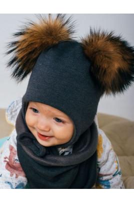 Теплый набор шапка с помпонами и снуд для мальчика ТМ Жоржик