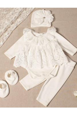 Комплект нарядный для девочки молочный с гипюром ТМ Кай и Герда