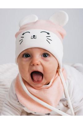 Стильный набор для малышей с шапочкой и манишкой Mouse персик