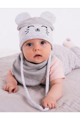 Купить Стильный набор для малышей с шапочкой и манишкой Mouse люрекс