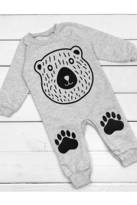Человечек (слип)  с открытыми ножками Медведь, футер ТМ Timki