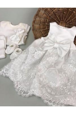 Комплект нарядный для девочки Санни (платье, лосины, боди, повязка и пинетки) интерлок