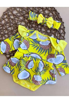 Боди-платье для девочки с повязкой Кокосик кулир,ТМ Timki