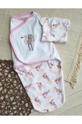 Европеленка для новорождленного с шапочкой на липучке Фламинго Кай и Герда,интерлок