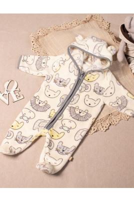Комбинезон с капюшоном для малышей Zoo, велсофт ТМ Кай и Герда