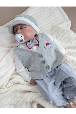 купить комплект человечек шапочка жилетка для мальчика малыша новорожденного слип комбинезон