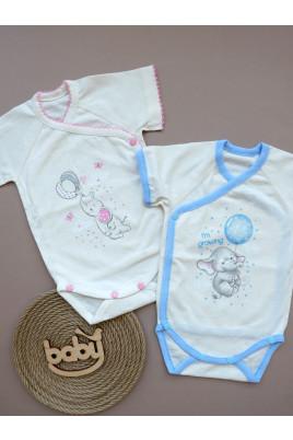 Купить Боди летний на запах для новорожденных Слоник ТМ Кай и Герда