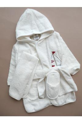 Купить одарочный махровый комплект Кораблик из 4х халат тапочки полотенце и рукавичка ТМ BiBaby