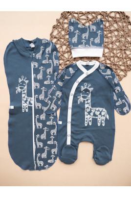 Купить Комплект в роддом европеленка комбинезон и шапочка Мой жирафик