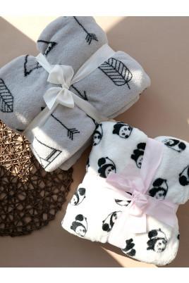 Плед флисовый в роддом или коляску новорожденному Стрелы и Пандочки, ТМ Timki