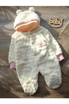 Купить Нежный комбинезон для малыша с капюшоном и ушками Кися, ТМ Happy tot