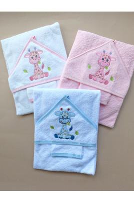Купить Набор полотенце-уголок и рукавичка для купания малышей Жирафик ,Турция