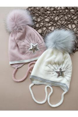 Купить Вязанная зимняя шапка с бубоном для девочки Зиронька