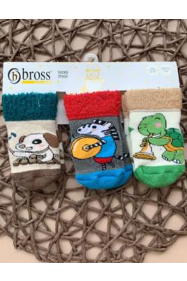 Набор махровых носков из 3х пар для малышей Веселые животные, TM Bross
