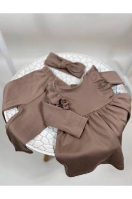 Милый комплект платье лосины и повязка солоха для девочки Марийка шоколадный,интерлок