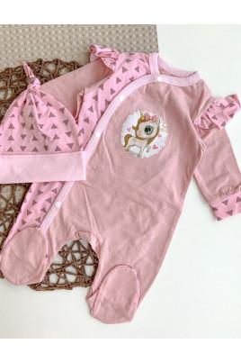 Комплект для малышки комбинезончик и шапочка Единорожка розовый,ТМ Happy Tot