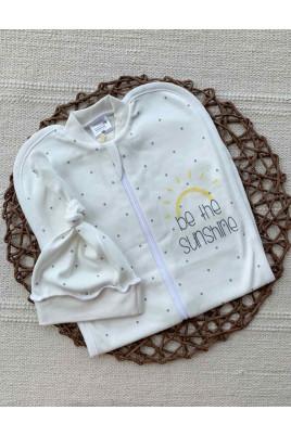 Европеленка для новорождленного с шапочкой Sunshine Merry Bee,интерлок на байке