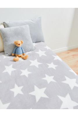 Плед в роддом или коляску новорожденному Звезды серый велсофт , ТМ Timki