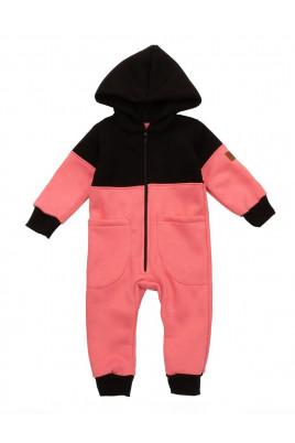 Детский теплый комбинезон на флисе с капюшоном на молнии MATHCLESS розовый TM Timki