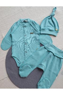 Комплект в роддом для новорожденных Бирюза Няня (бодик,ползунки и шапочка)