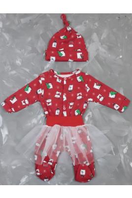 Теплый комплект для девочки Рождественские мишки футер,ТМ Timki
