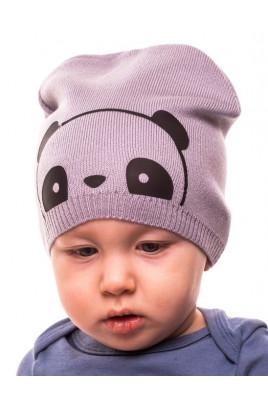 Детская теплая шапка без подкладки Панда, цвет в ассортименте