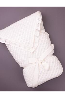 Вязаный конверт-одеяло выбеленное молоко ТМ Фламинго