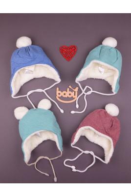 Теплая шапочка для малышей Happy Baby разных цветов