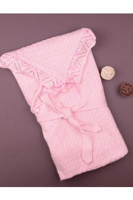 Вязаный конверт-одеяло ТМ Фламинго,розовый