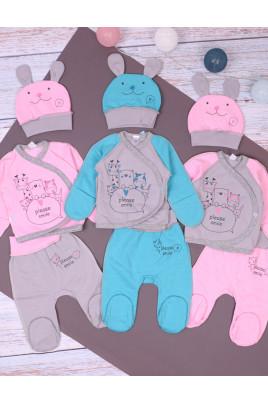 Комплект для новорожденных с распашонкой Pleas smle, футер ТМ Sweet Mario