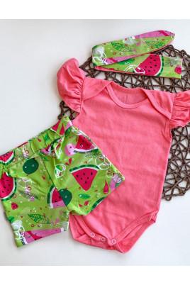 Летний комплект Арбузик для девочки бодик, шортики и повязка ,TM Timki