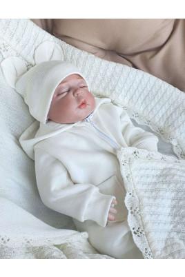 Комбинезон малышу с капюшоном на молнии Style Timki,трехнить с начесом