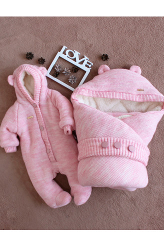 Купить Комплект конверт и комбинезон на выписку для новорожденного Мишутка розовый