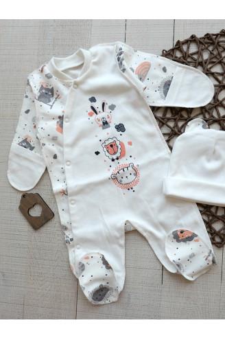 Купить Комплект слип и шапочка для новорожденных Animals ТМ Timki