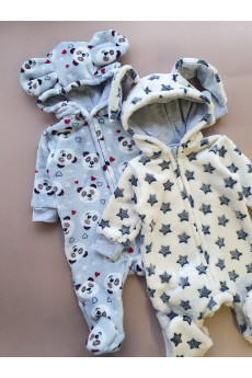 Комбинезон теплый для малышей с капюшоном  Зверюшки, велсофт ТМ Пупчик