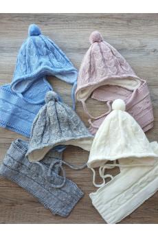 Комплект шапочка на завязках и шарфик для малышей Гармония ТМ Фламинго