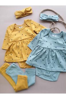 Комплект для девочки боди-платье лосины и повязка Эмми