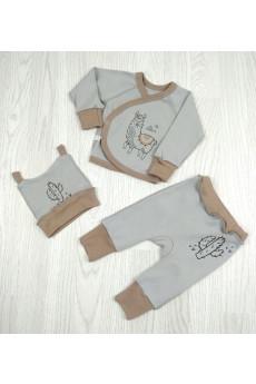 Комплект для новорожденных Лама бежевый, серый ТМ Sweet Mario
