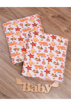 Пеленка 90х80 для новорожденного Крабики от ТМ Timki, фланель